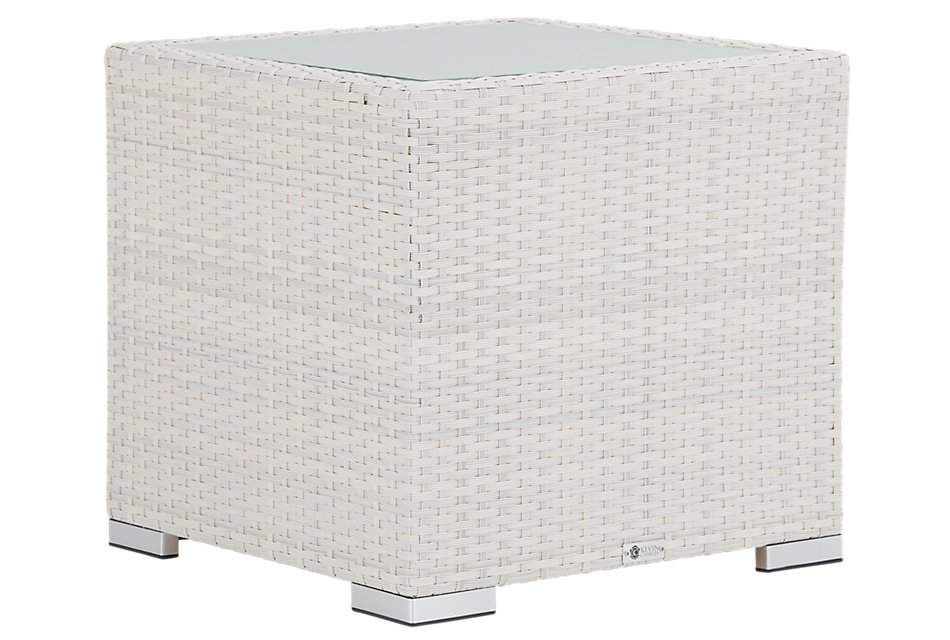 Biscayne White Square End Table
