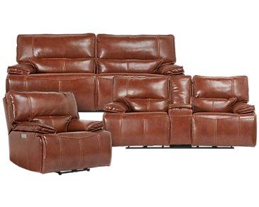 Jesse Medium Brown Leather Power Reclining Living Room