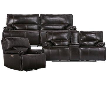 Jesse Dark Brown Leather Power Reclining Living Room