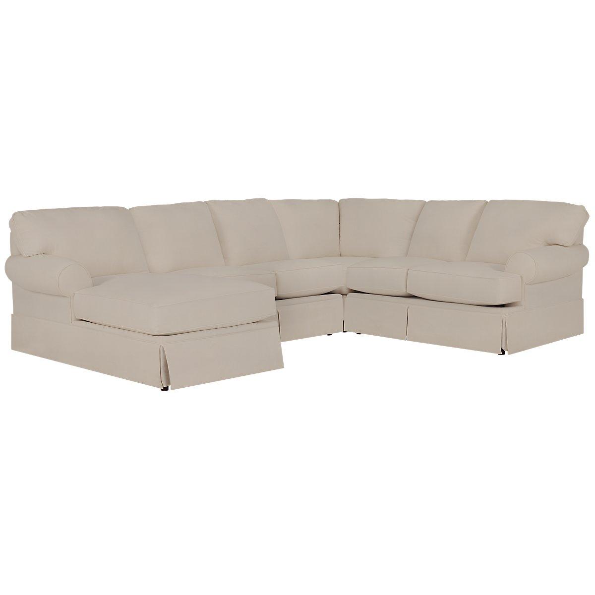 City furniture turner khaki fabric medium left chaise for Chaise kaki