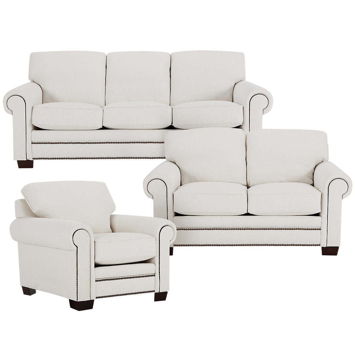 City Furniture Foster White Fabric Living Room