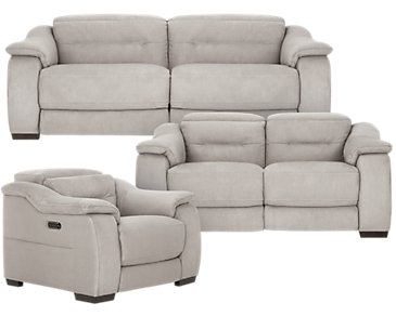 Kent Light Gray Microfiber Power Reclining Living Room