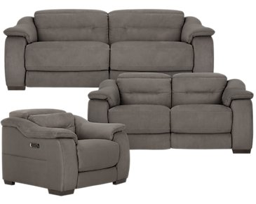 Kent Dark Gray Microfiber Power Reclining Living Room