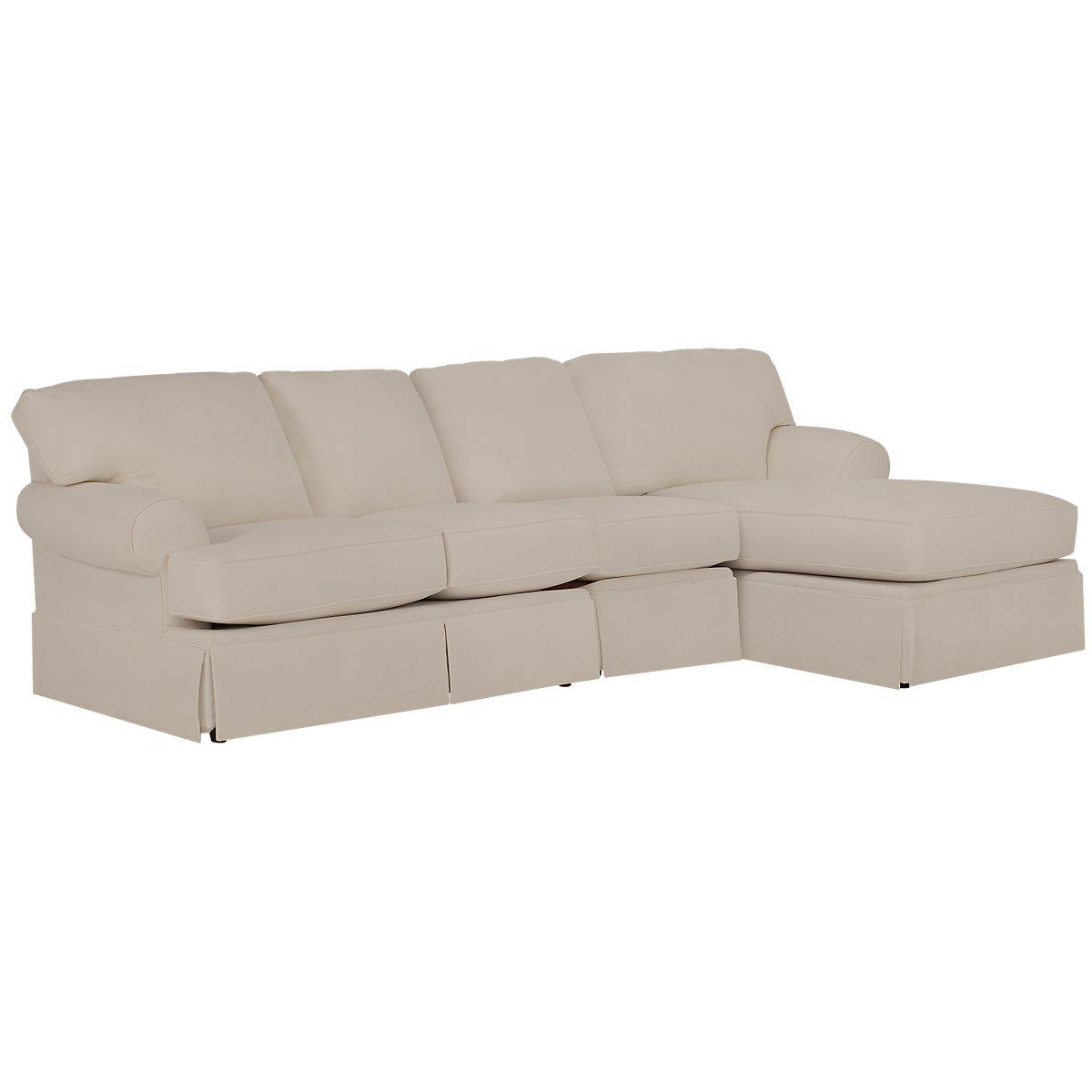 City furniture turner khaki fabric small right chaise for Chaise kaki