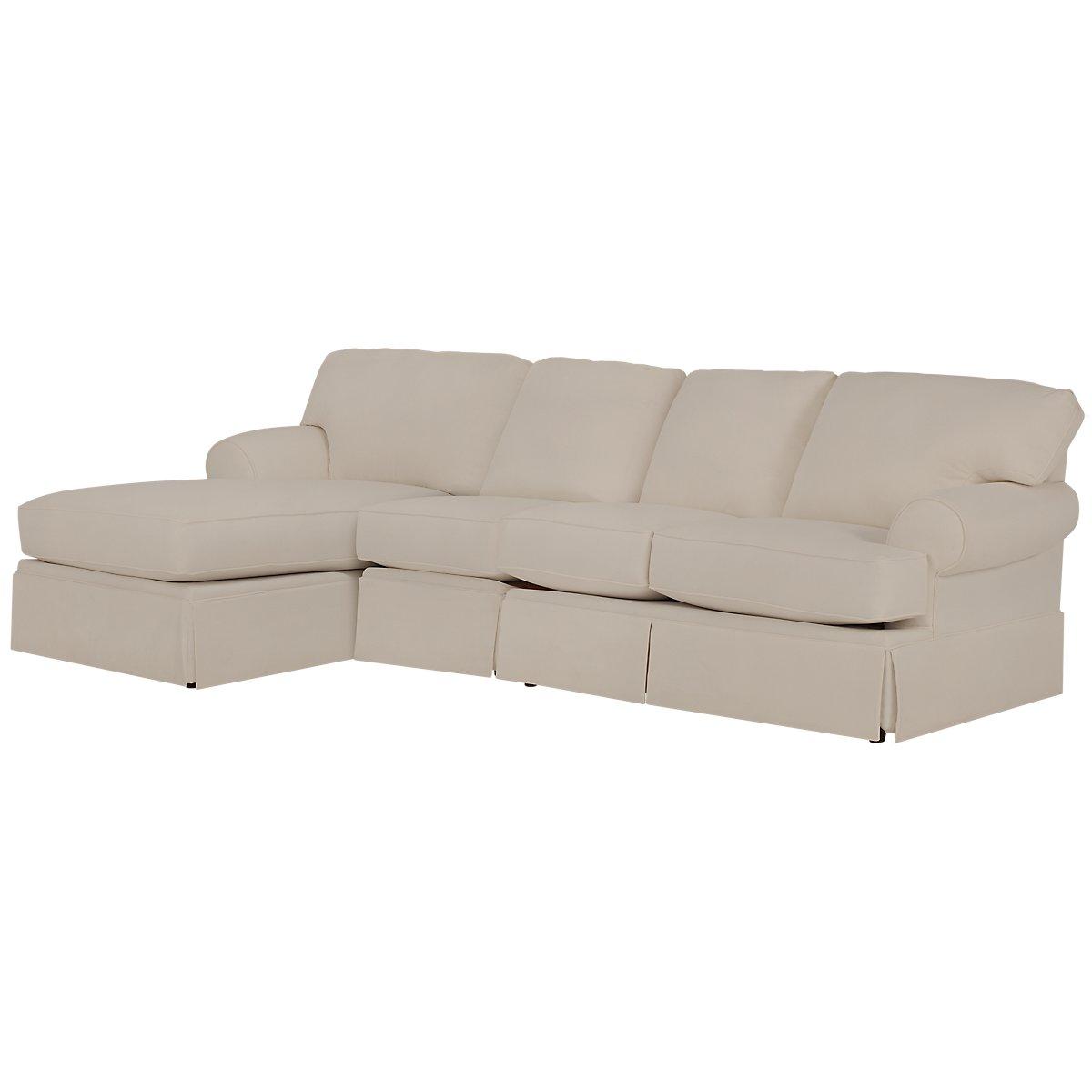 City furniture turner khaki fabric small left chaise for Chaise kaki