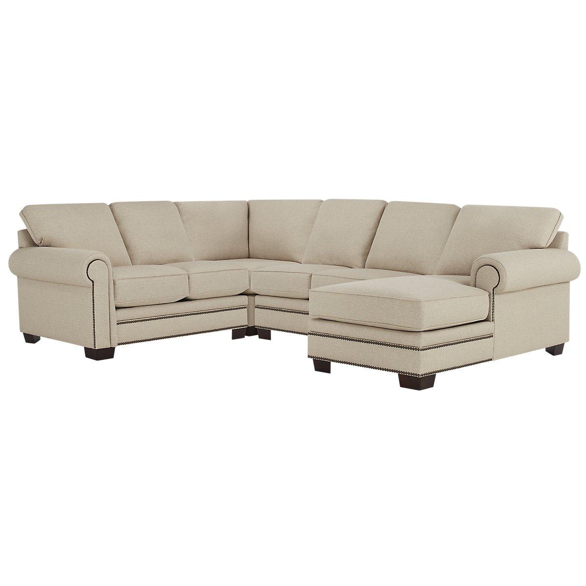 City furniture foster khaki fabric medium right chaise for Chaise kaki