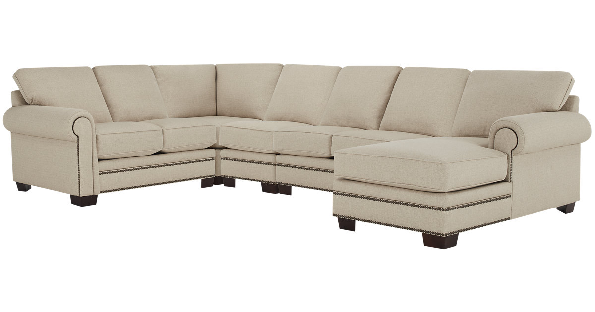 City Furniture: Foster Khaki Fabric Large Right Chaise Sectional