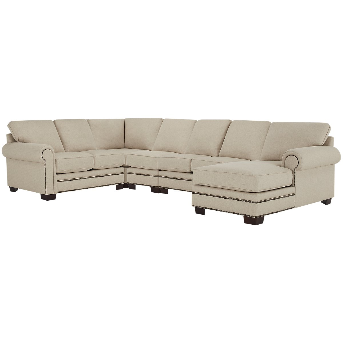 City furniture foster khaki fabric large right chaise for Chaise kaki