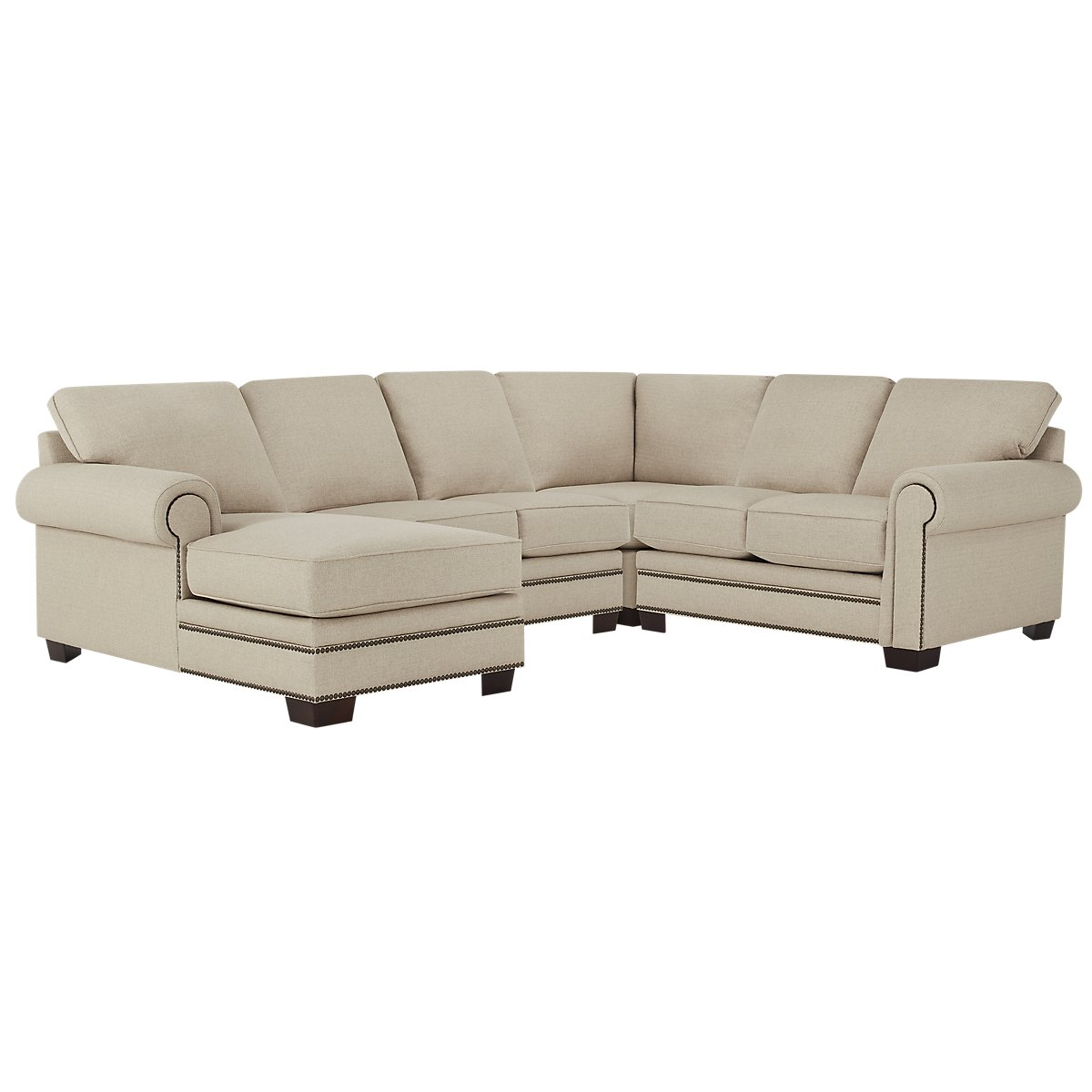 City furniture foster khaki fabric medium left chaise for Chaise kaki