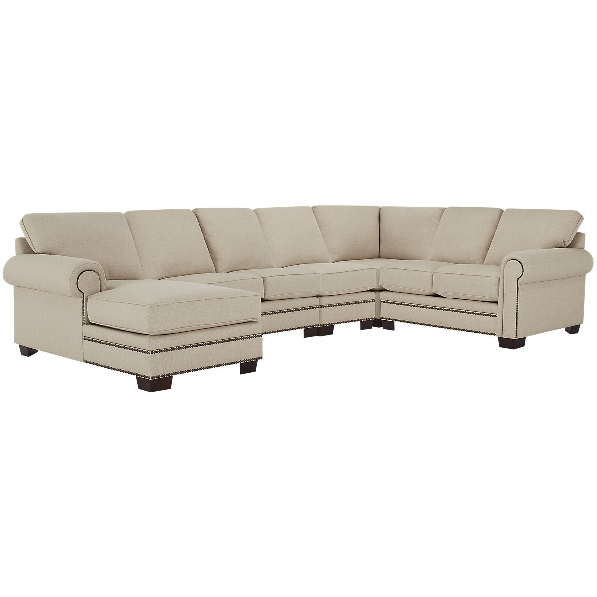 City furniture foster khaki fabric large left chaise for Chaise kaki