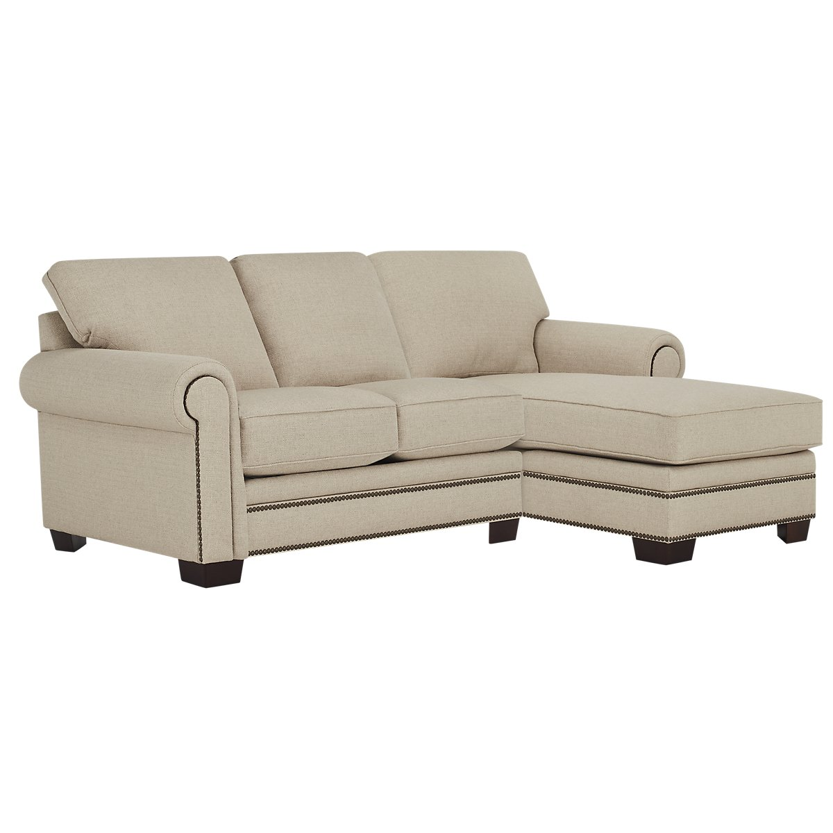 City furniture foster khaki fabric right chaise sectional for Chaise kaki