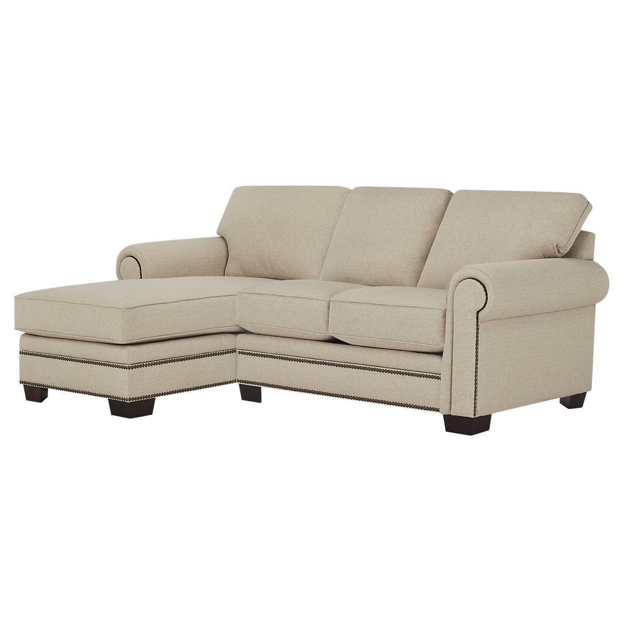 City furniture foster khaki fabric left chaise sectional for Chaise kaki