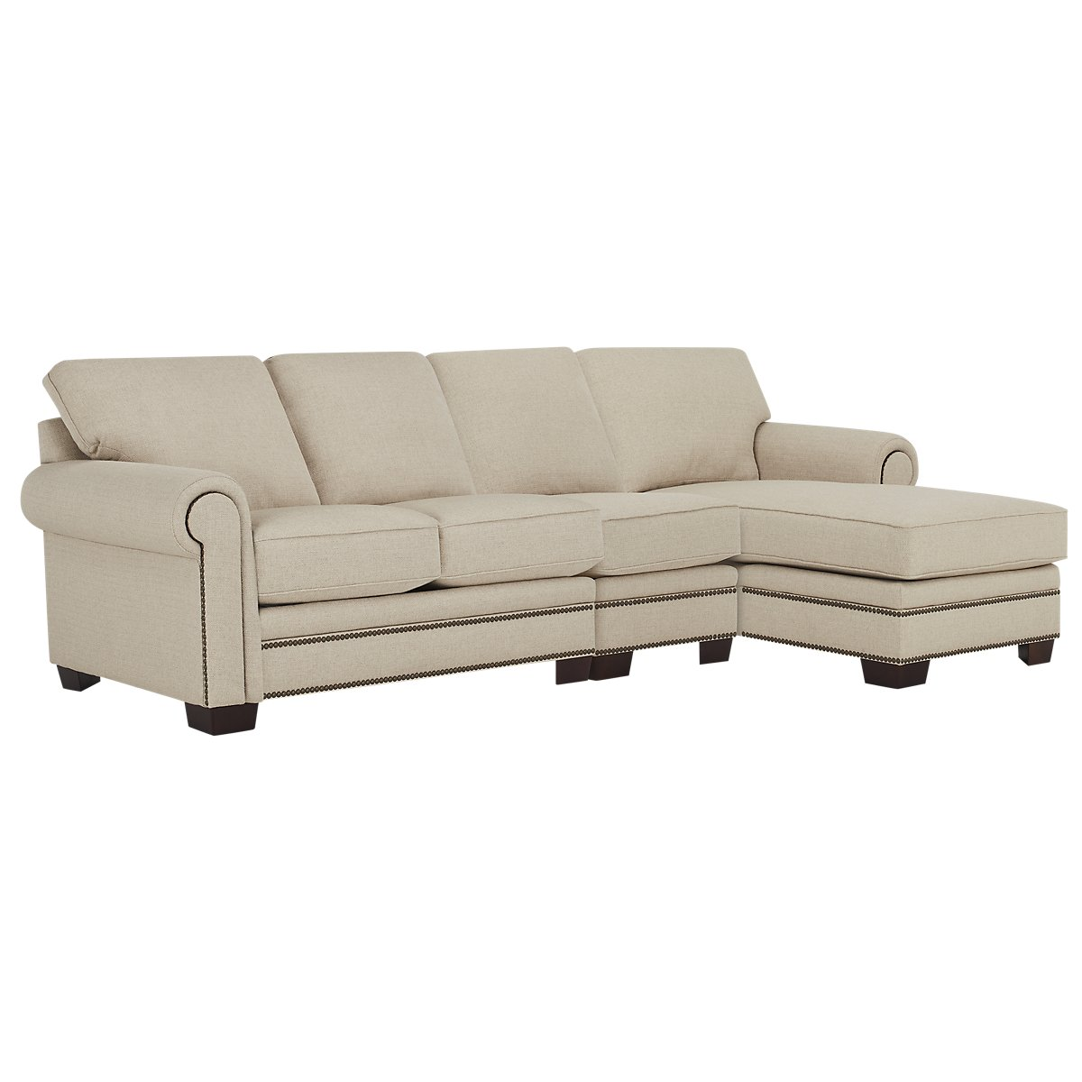 City furniture foster khaki fabric small right chaise for Chaise kaki