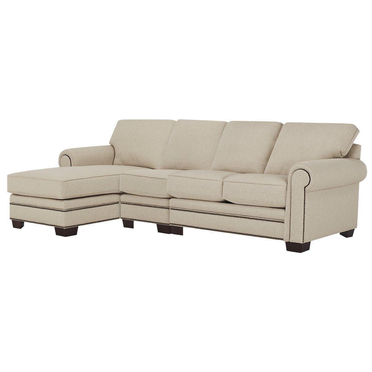 City furniture foster khaki fabric small left chaise for Chaise kaki
