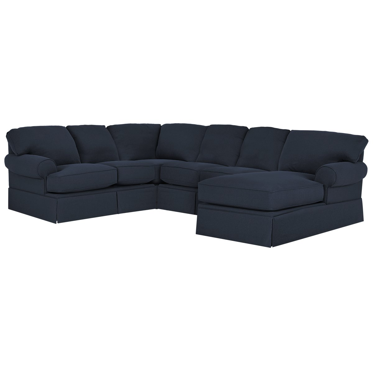 City furniture turner dark blue fabric medium right for Blue sectional with chaise
