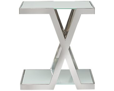Delia White Square End Table