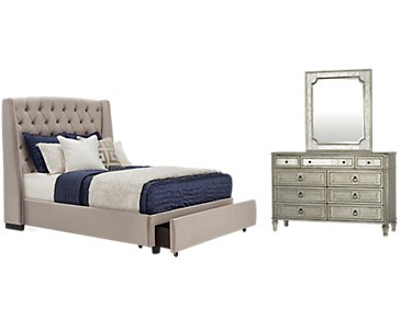 Raven Gray Upholstered Platform Storage Bedroom