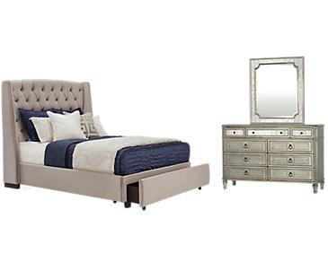 Raven Gray Upholstered Platform Storage Bedroom