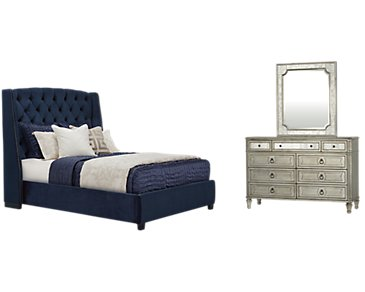 Raven Dark Blue Upholstered Platform Bedroom