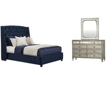 Raven Dark Blue Upholstered Platform Bedroom
