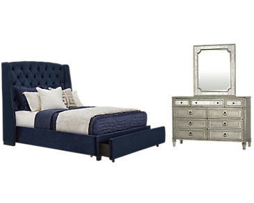 Raven Dark Blue Upholstered Platform Storage Bedroom