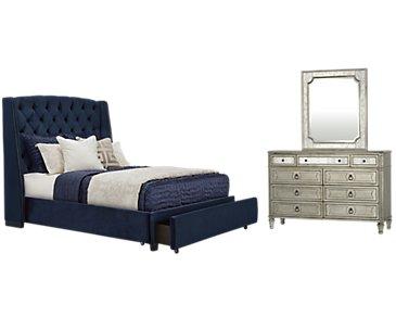 Raven Dark Blue Upholstered Platform Storage Bedroom