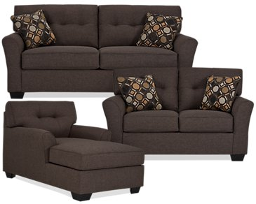 Laryn Dark Gray Microfiber Large Living Room