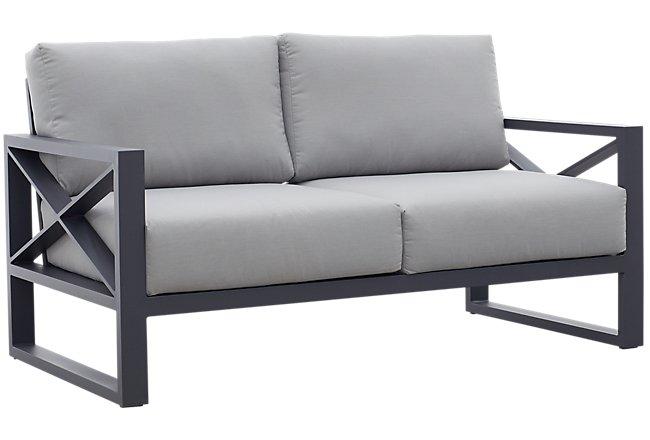 Linear Dark Gray Aluminum Loveseat
