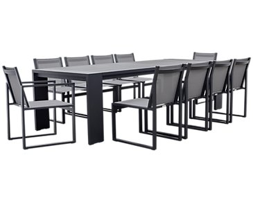 "Linear Dark Gray 110"" Aluminum Table & 4 Sling Side Chairs"