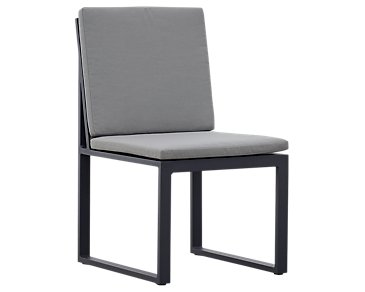 Linear Dark Gray Aluminum Cushioned Chair