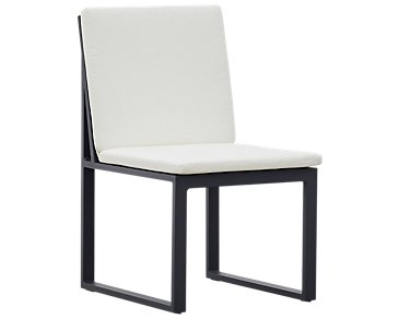 Linear White Aluminum Cushioned Chair