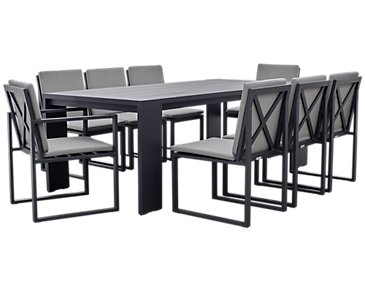 "Linear Dark Gray 87"" Aluminum Table & 4 Cushioned Side Chairs"