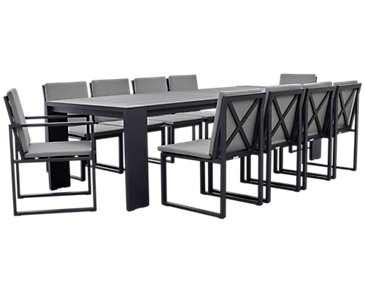"Linear Dark Gray 110"" Aluminum Table & 4 Cushioned Side Chairs"