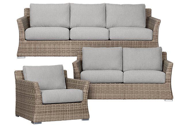 Raleigh Gray Woven Outdoor Living Room Set | Outdoor ... on Patio Living Room Set id=37648