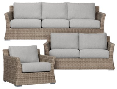 Raleigh Gray Woven Outdoor Living Room Set
