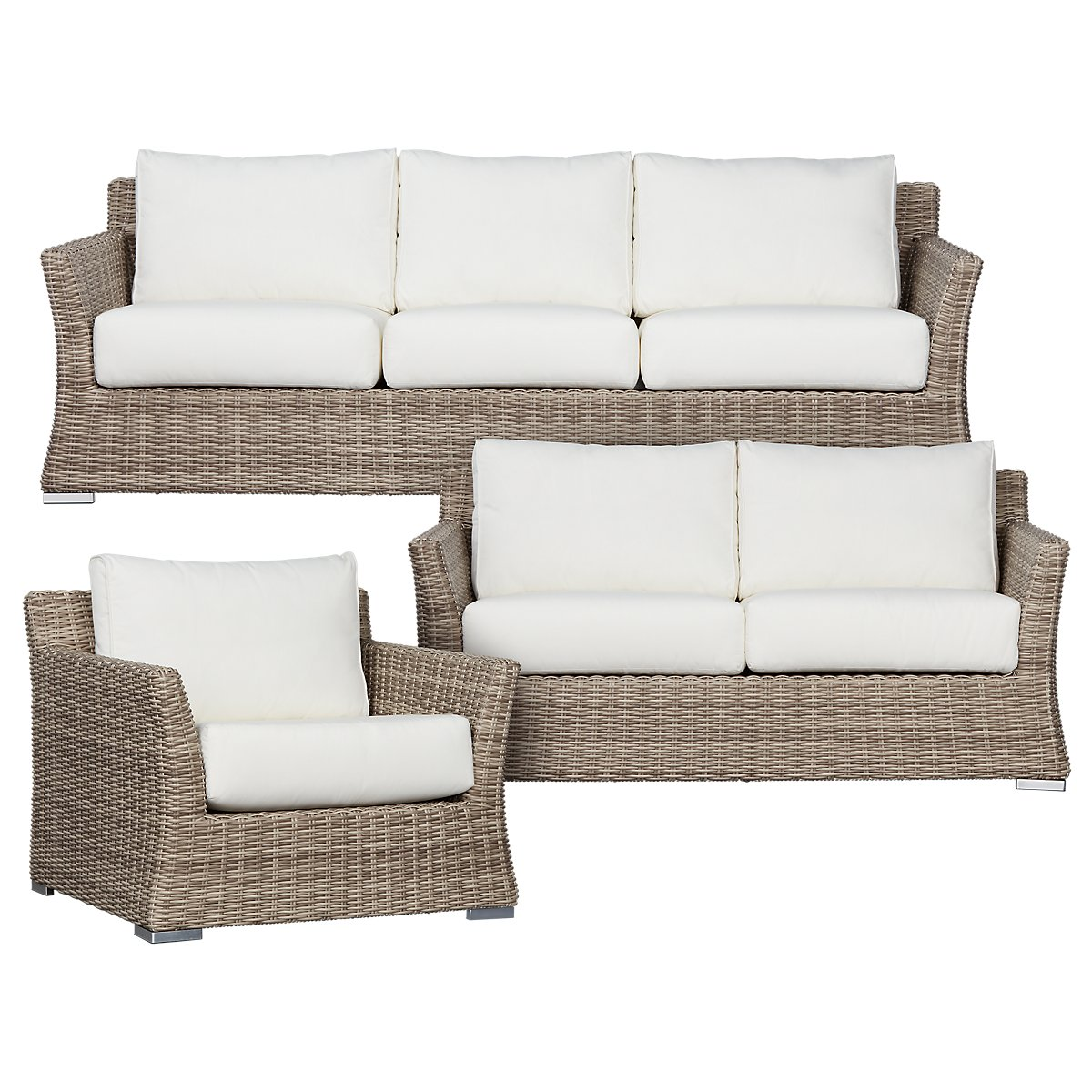 City Furniture: Raleigh White Woven Outdoor Living Room Set