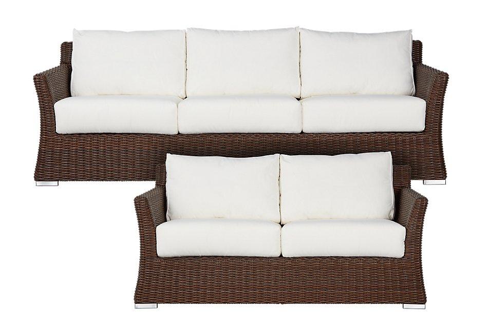 Surprising Southport White Woven Outdoor Living Room Set Outdoor Spiritservingveterans Wood Chair Design Ideas Spiritservingveteransorg