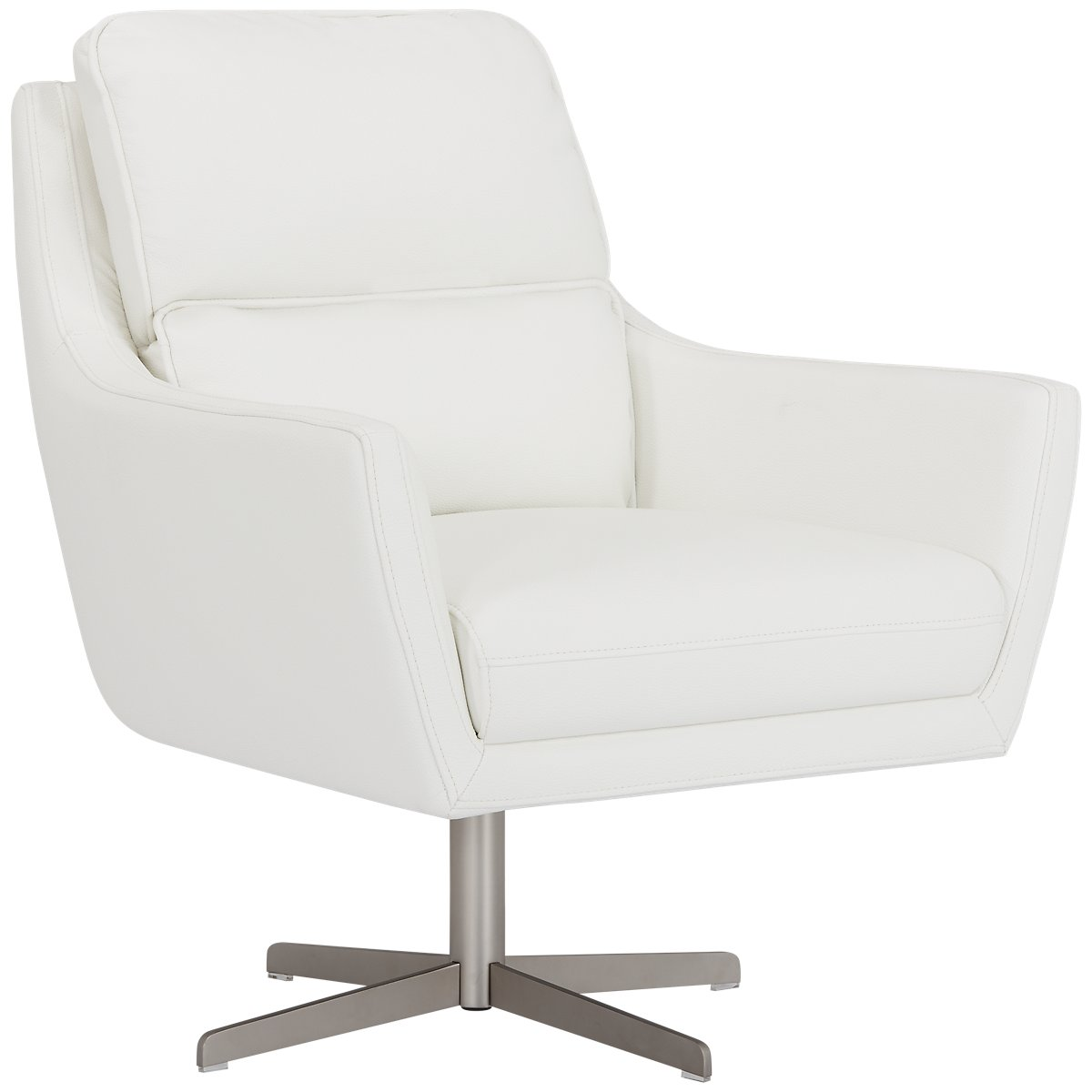 City Furniture Francisco White Microfiber Swivel Accent Chair