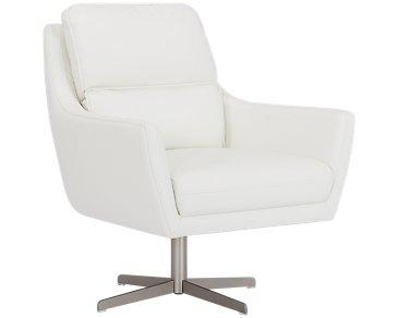 Francisco White Microfiber Swivel Accent Chair