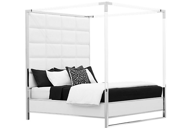 State Street White Metal Canopy Bed Bedroom Beds City