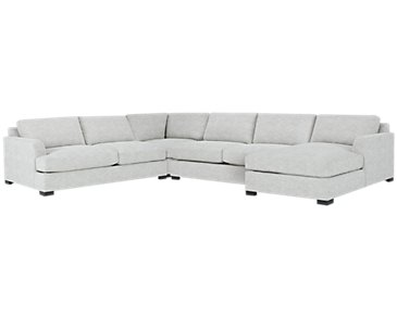 Adriana Light Gray Fabric Medium Right Chaise Sectional
