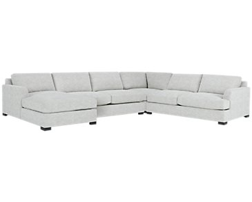 Adriana Light Gray Fabric Medium Left Chaise Sectional