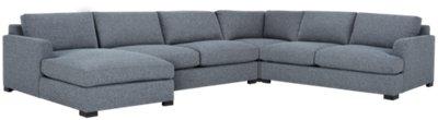 Adriana Dark Blue Fabric Medium Left Chaise Sectional ...