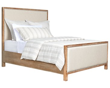Colette Light Tone Upholstered Panel Bed