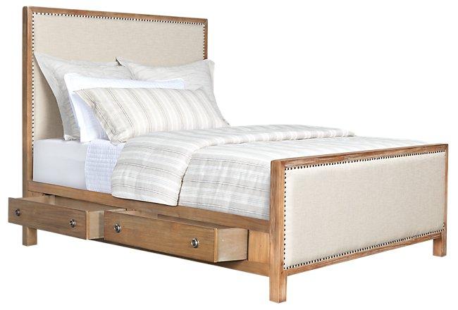 Colette Light Tone Upholstered Panel Storage Bed