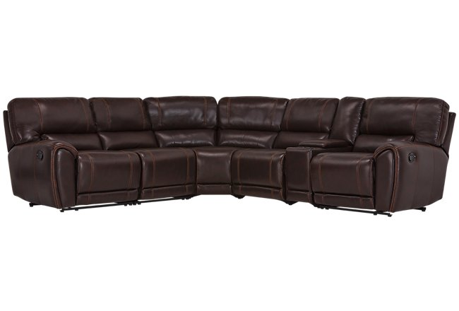 Bailey Dark Brown Micro Small Dual Manually Reclining Two-Arm Sectional