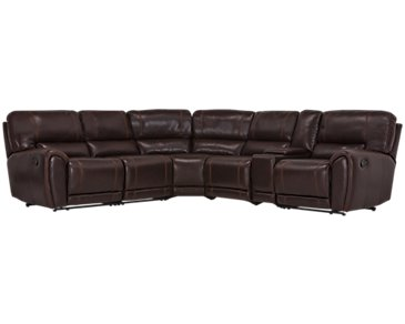 Bailey Dark Brown Microfiber Small Triple Manually Reclining Two-Arm Sectional