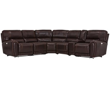 Bailey Dark Brown Microfiber Small Triple Power Reclining Two-Arm Sectional