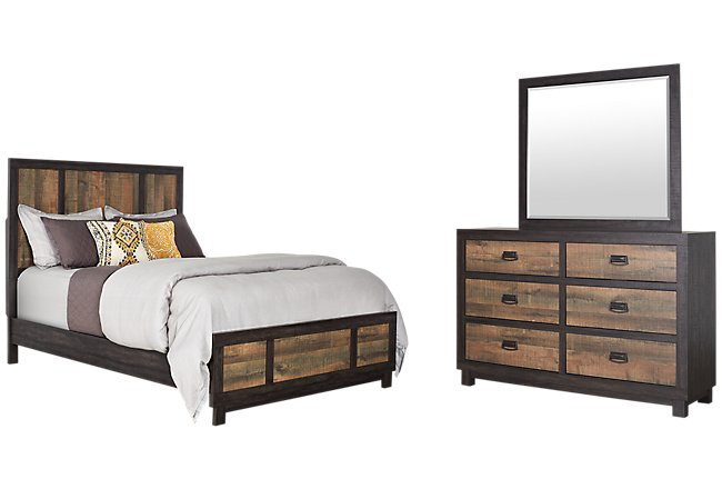 Harlington Dark Tone Wood Panel Bedroom