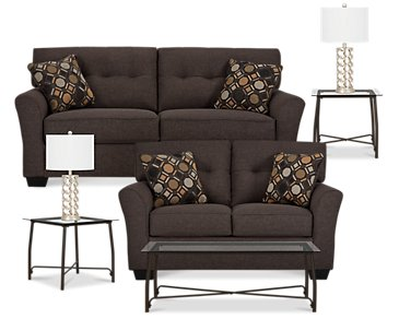 Laryn Dark Gray Microfiber 7-Piece Living Room Package